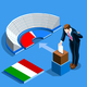 Italy Election Italian People Vote at Isometric Ballot Box
