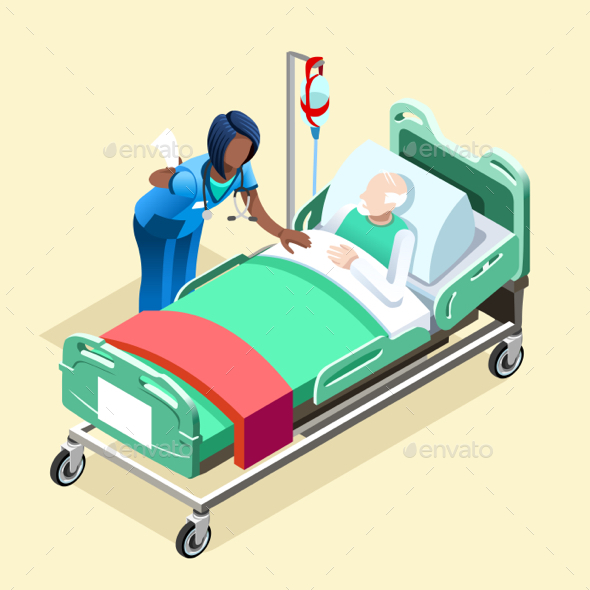 Medical Black Nurse Talking with Patient Vector Isometric People - Vectors