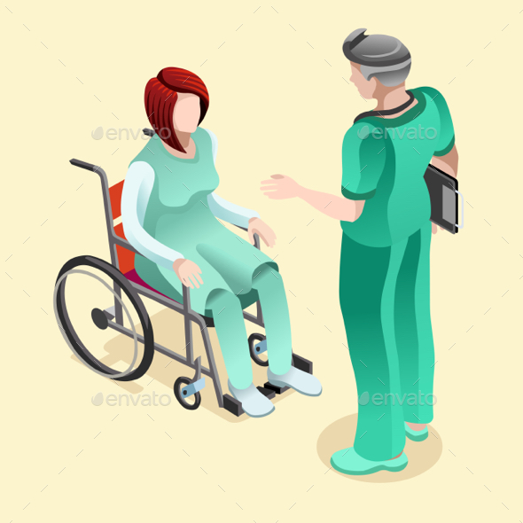 Medical Doctor Talking with Patient Vector Isometric People - Vectors