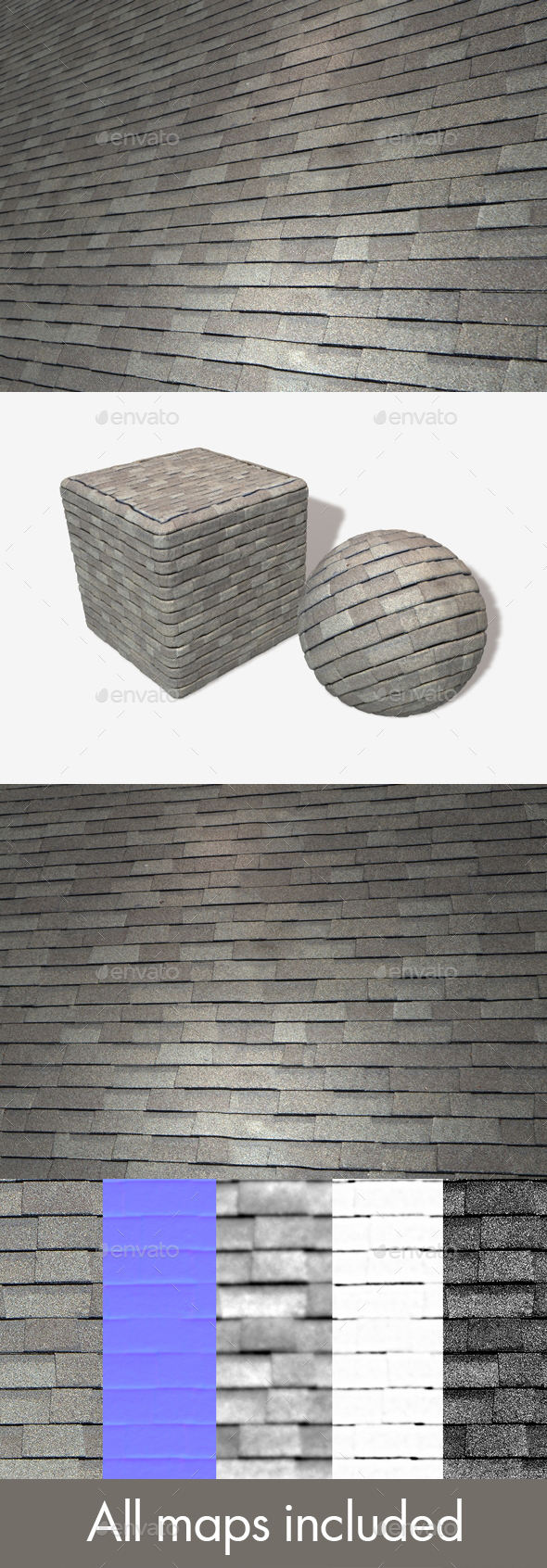 Random New Roof Tiles Seamless Texture - 3DOcean Item for Sale