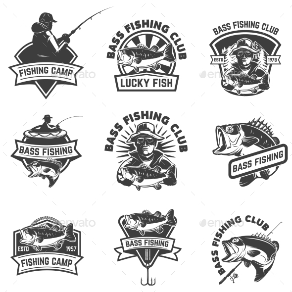 GraphicRiver Set of Bass Fishing Emblem 20438078