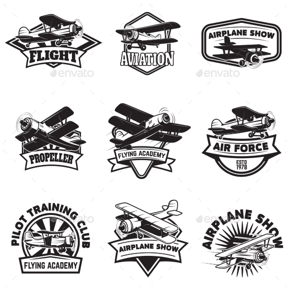 Set of Flying Academy Emblems. - Man-made Objects Objects
