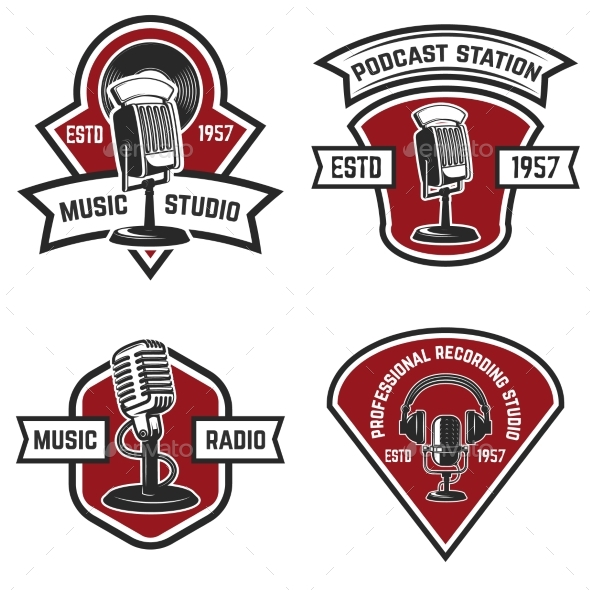 Set of Emblems with Old Style Microphone - Miscellaneous Vectors
