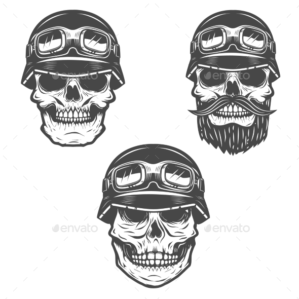 Set of Racer Skulls Isolated on White Background