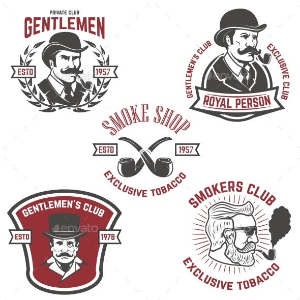 Set of Smokers Club, Gentlemen Club Labels - Miscellaneous Vectors