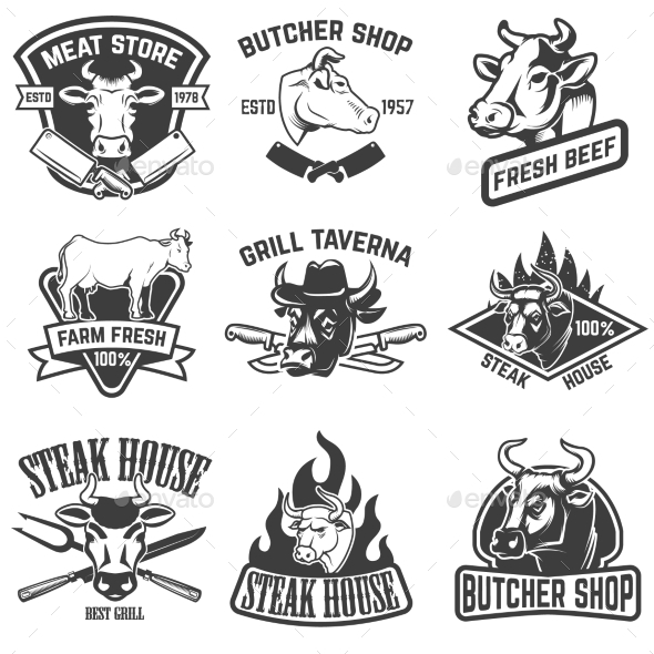 Set of Beef Meat, Steak House Emblems. - Food Objects