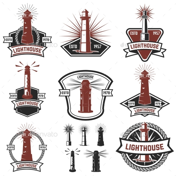 GraphicRiver Set of the Badges with Lighthouses 20438122
