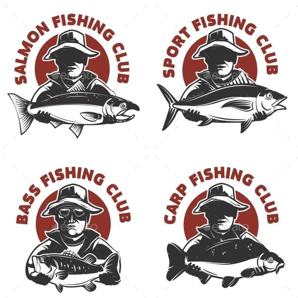 Set of Fishing Club Labels Templates. - Miscellaneous Vectors