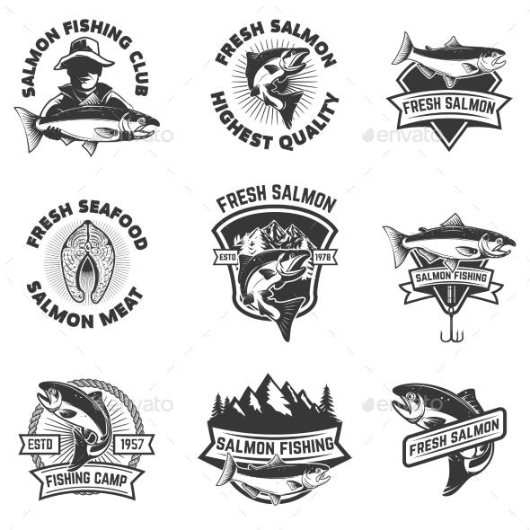 Set of Salmon Fishing Emblems. Seafood. - Miscellaneous Vectors