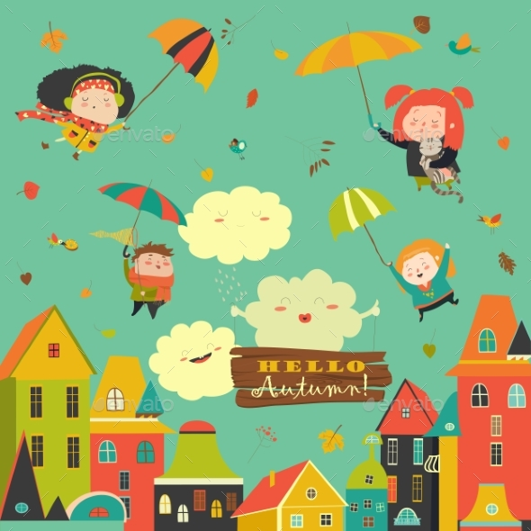 GraphicRiver Kids Flying with Umbrellas Under the City 20438171
