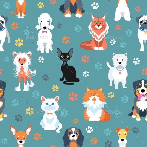 GraphicRiver Seamless Pattern with Cats and Dogs Flat Design 20438288