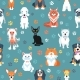 Seamless Pattern with Cats and Dogs Flat Design - GraphicRiver Item for Sale