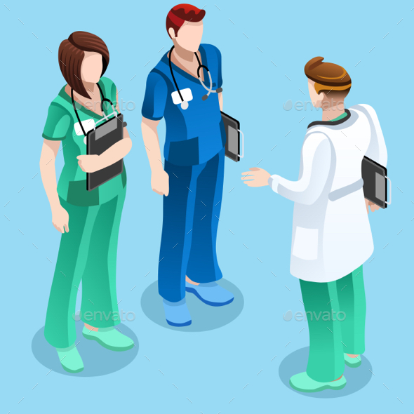 Medical Doctor Talking with Two Nurses Vector Isometric People - Vectors