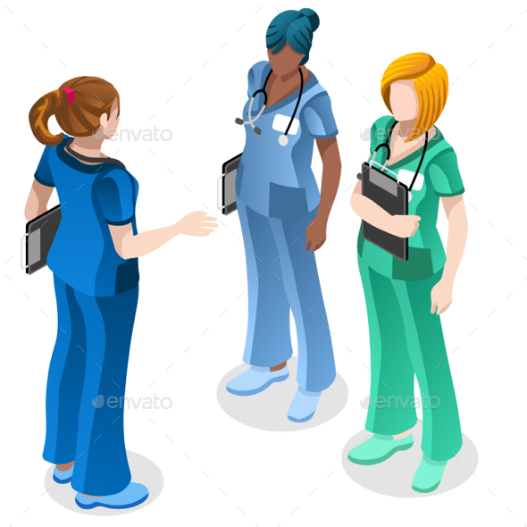 Medical Nurse Education Doctor Training Vector Isometric People - Vectors
