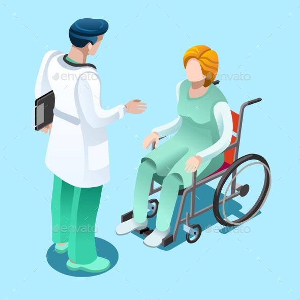 Medical Professionals Isometric People Vector - Vectors