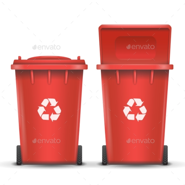 GraphicRiver Red Recycling Bin Bucket Vector For Metal Trash 20438507