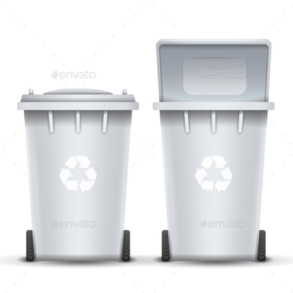 White Recycling Bin Bucket Vector For Trash - Objects Vectors