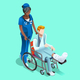 Vector Black Female Nurse and Patient Isometric People
