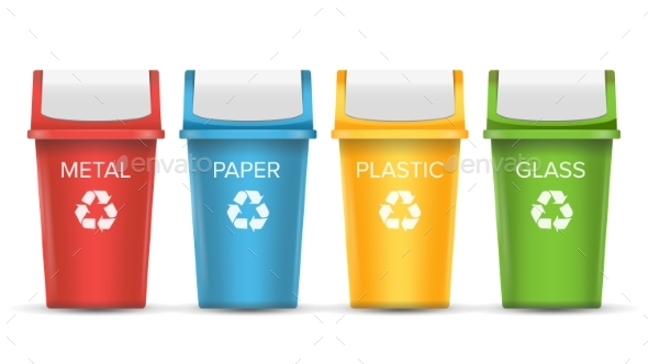 Colorful Recycle Trash Bins Vector. - Objects Vectors