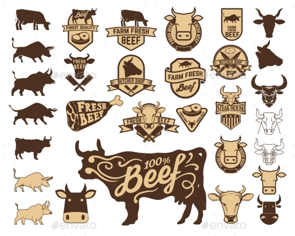 Set of the Fresh Beef Logo. Cow Icons. - Animals Characters
