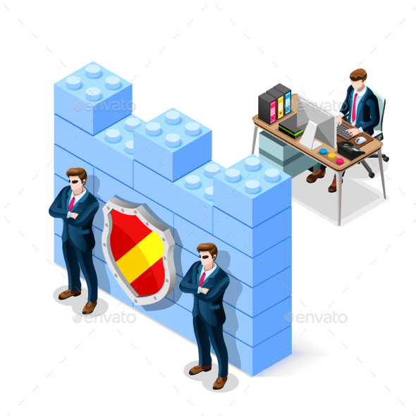 Vector Isometric Firewall Cyber Crime Security - Vectors