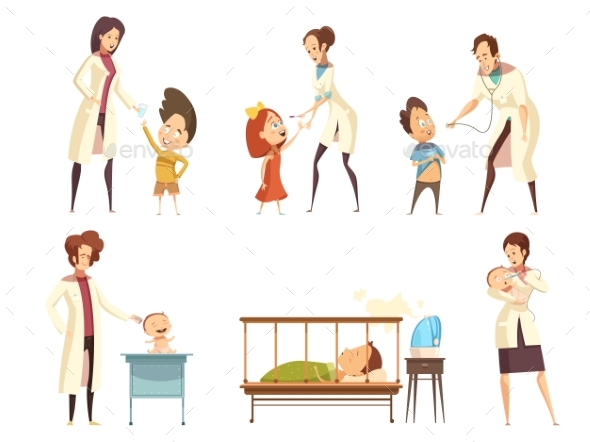 Ill Children Hospital Treatment Cartoon Set - Health/Medicine Conceptual