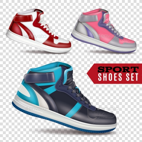 Color Sport Shoes On Transparent Background - Man-made Objects Objects