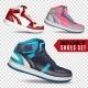 Color Sport Shoes On Transparent Background