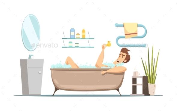 GraphicRiver Man Taking Bath In Bathroom 20438752