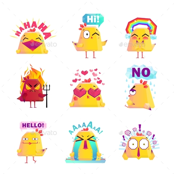 Funny Chicken Cartoon Character Icons Set - Animals Characters
