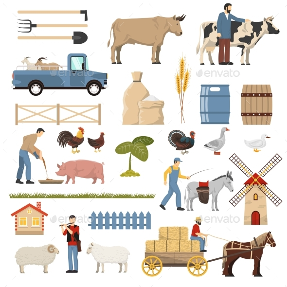 GraphicRiver Livestock Farm Elements Collection 20438770