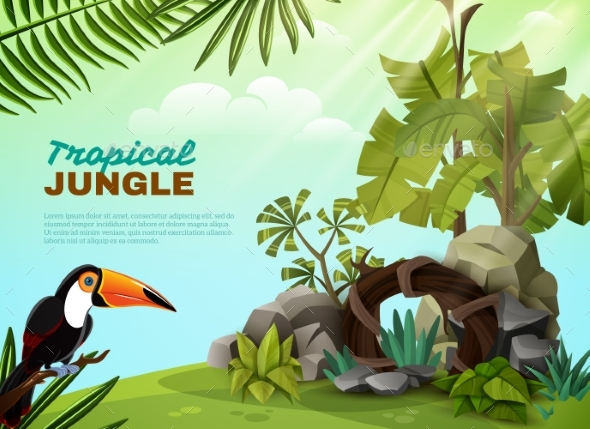 GraphicRiver Tropical Jungle Toucan Garden Composition POster 20438779