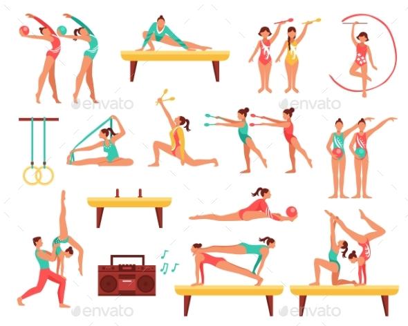 GraphicRiver Gymnastics And Actobatics Decorative Icons Set 20438785