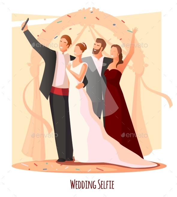 Wedding Festive Selfie Composition - People Characters