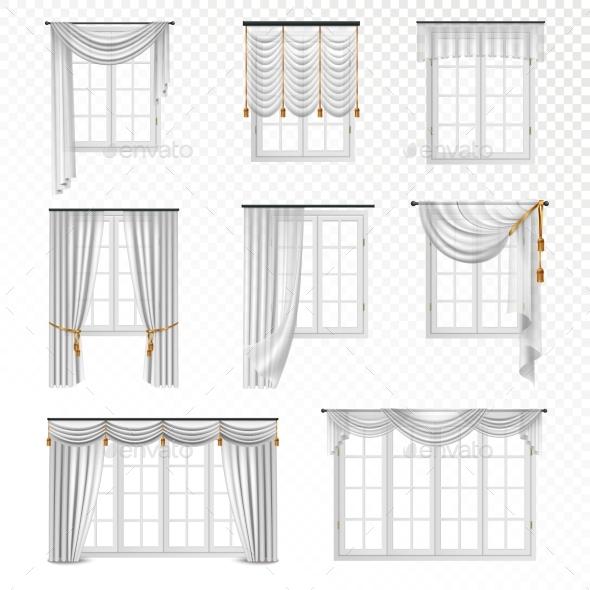 Realistic Curtain Windows Set - Objects Vectors