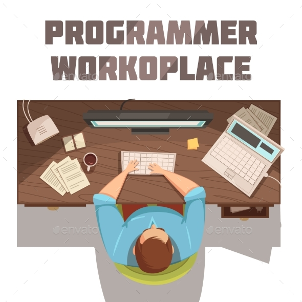 Programmer Workplace Cartoon Concept - Technology Conceptual