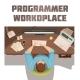 Programmer Workplace Cartoon Concept