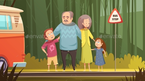 GraphicRiver Grandparents And Grandchildren Cartoon Composition 20438833