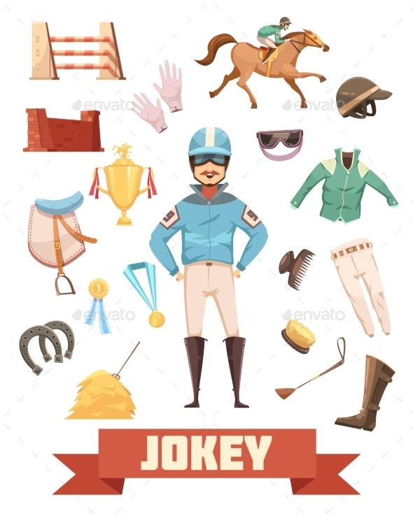 Jockey Ammunition Decorative Icons Set - Objects Vectors