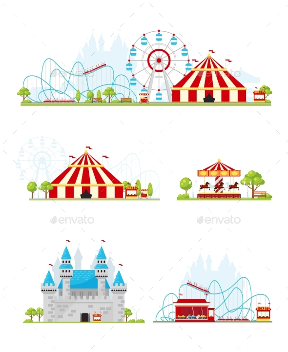 Amusement Park Banner Set - Miscellaneous Vectors