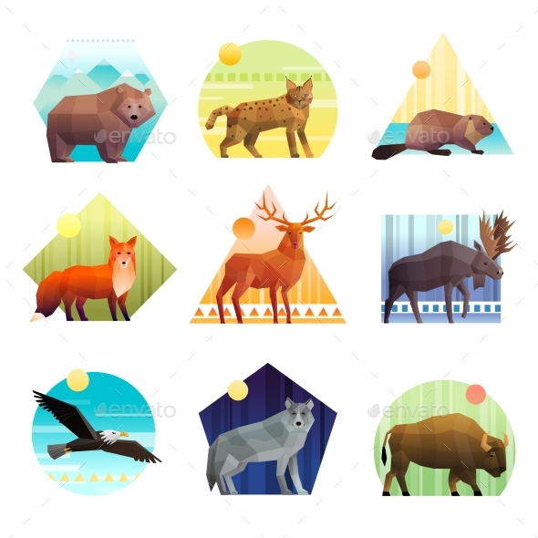 GraphicRiver Animals Polygonal Emblem Set 20438851