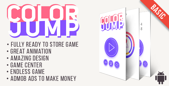 Color Jump (Basic) - Fun Arcade Game Android Template + easy to reskine + AdMob - CodeCanyon Item for Sale