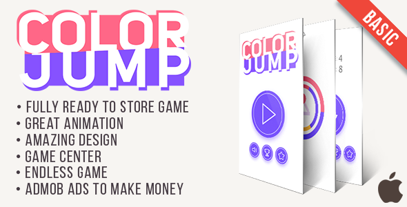 Color Jump (Basic) - Fun Arcade Game IOs Template + easy to reskine + AdMob - CodeCanyon Item for Sale