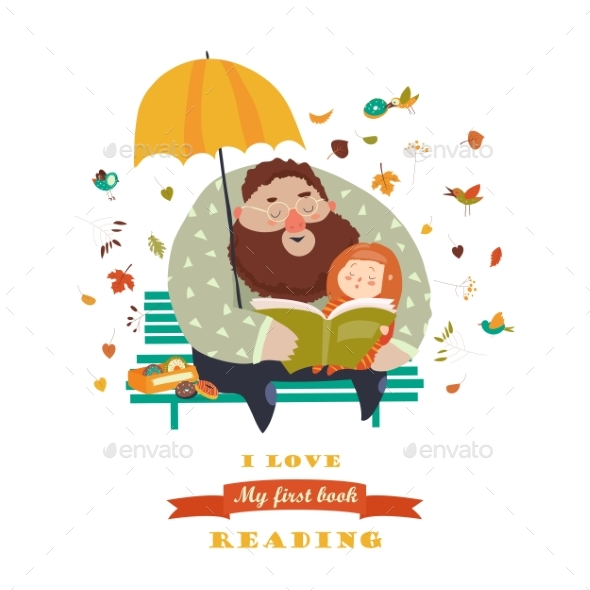 GraphicRiver Father Reading a Book To His Daughter 20438939