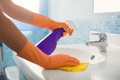 Woman Doing Chores Cleaning Bathroom At Home - PhotoDune Item for Sale