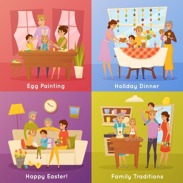 Family Easter Concept 4 Flat Icons - Buildings Objects