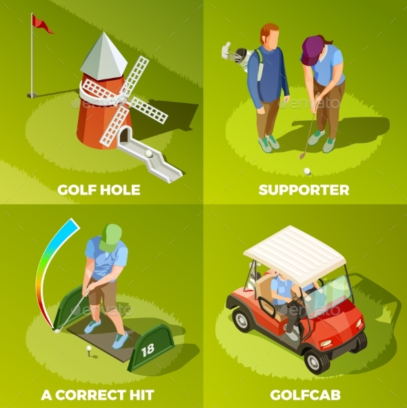 Golf 2X2 Isometric Design Concept - Computers Technology