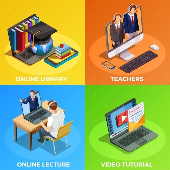 Distance Education Design Concept - Miscellaneous Vectors