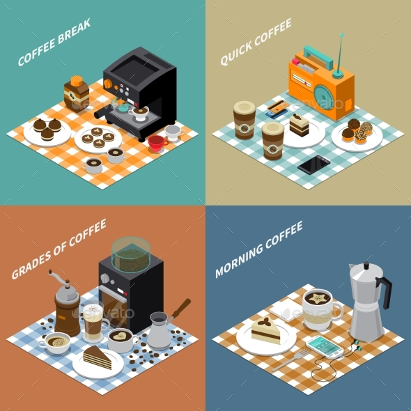 GraphicRiver Coffee Isometric Design Concept 20439044