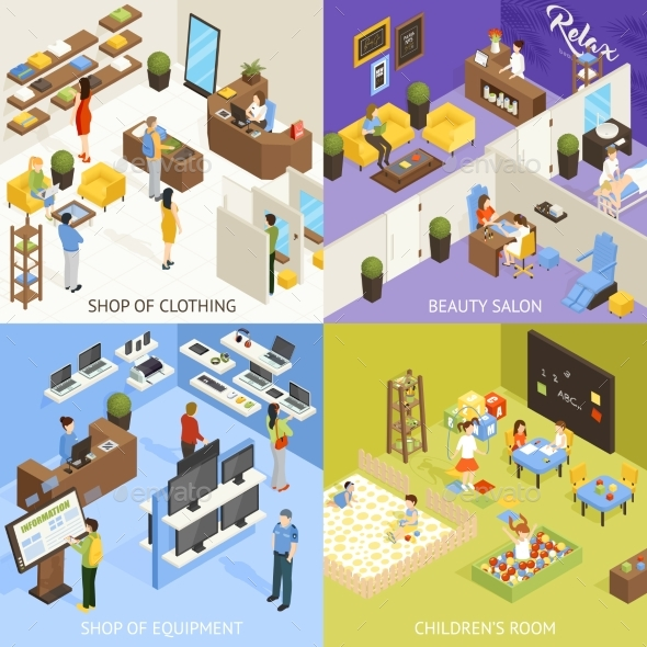 Shopping Mall Isometric Design Concept - Man-made Objects Objects